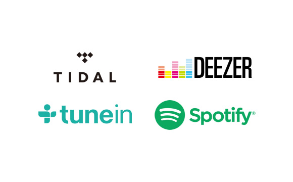 Supports TIDAL*1, Spotify, Deezer*1, Pandora*2, and TuneIn Image