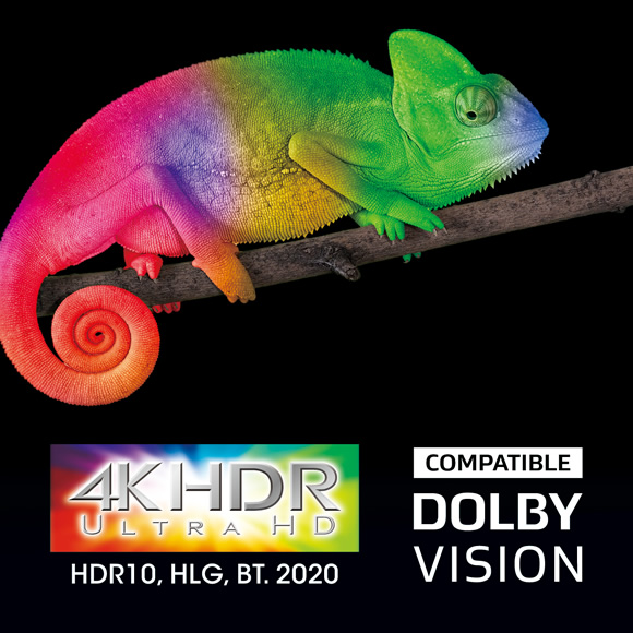 Spectacular 4K HDR with BT.2020, 4K/60 Hz, and HDCP 2.2 Image