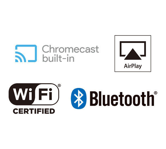 Chromecast built-in*, DTS Play-Fi*, AirPlay, Wi-Fi, and Bluetooth Image